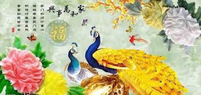 Tranh gạch ốp tường 3d mẫu tranh chim công0
