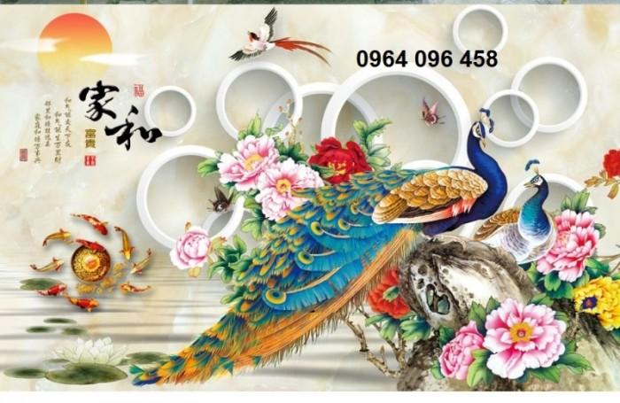 Tranh gạch ốp tường 3d mẫu tranh chim công4