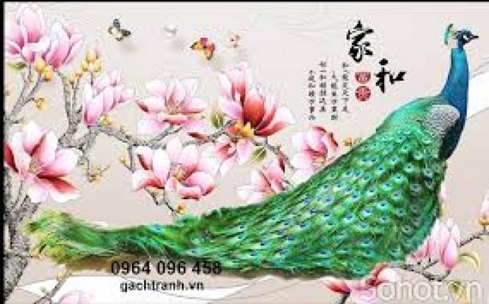 Tranh gạch ốp tường 3d mẫu tranh chim công3