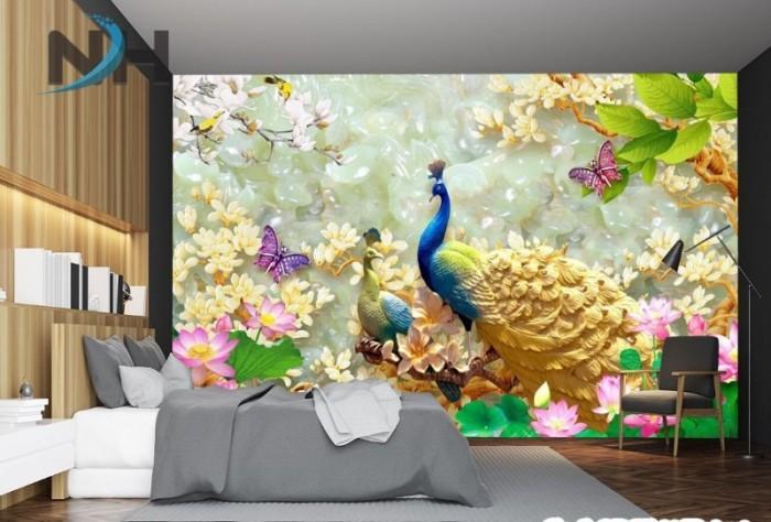 Tranh gạch ốp tường 3d mẫu tranh chim công6