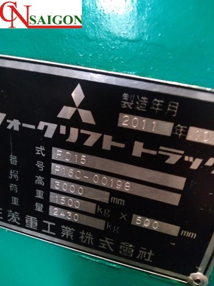 THÔNG SỐ XE NÂNG DẦU MITSUBISHI Loại hình: Ngồi lái  Model: FD15  Tải trọng nâng: 1.5 tấn  Chiều cao nâng: 3m 1