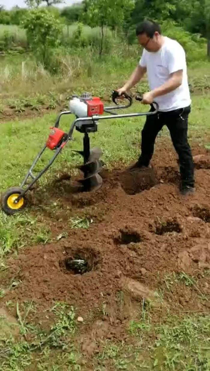 [Tặng mũi 100mm] Máy khoan đất đẩy tay Okasu 261 khoan đất đồi4