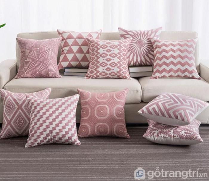 Gối tựa lưng họa tiết vải lanh trang trí sofa GHO-1181