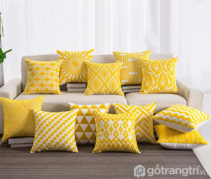 Gối tựa lưng họa tiết vải lanh trang trí sofa GHO-1182