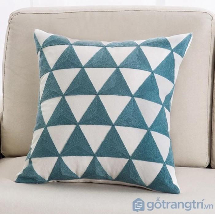Gối tựa lưng họa tiết vải lanh trang trí sofa GHO-1185
