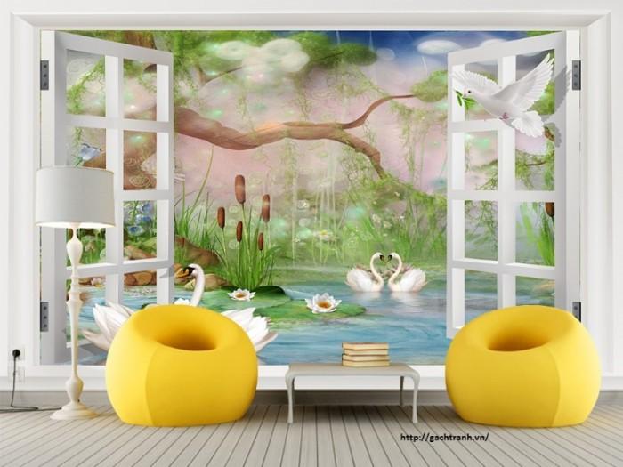 Gạch tranh ốp tường 3d - phong cảnh thiên nhiên6