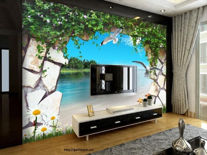 Gạch tranh ốp tường 3d - phong cảnh thiên nhiên7
