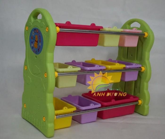 Kệ nhựa mầm non đựng học liêu, đồ chơi dành cho trẻ nhỏ