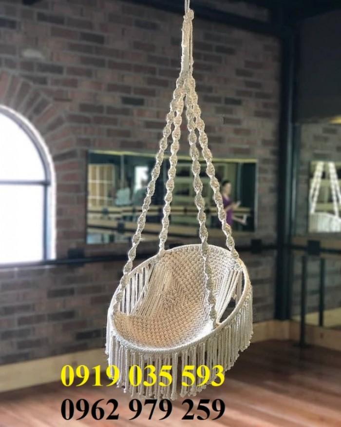 Bộ võng ngồi xích đu đan dây cotton ngà trắng1