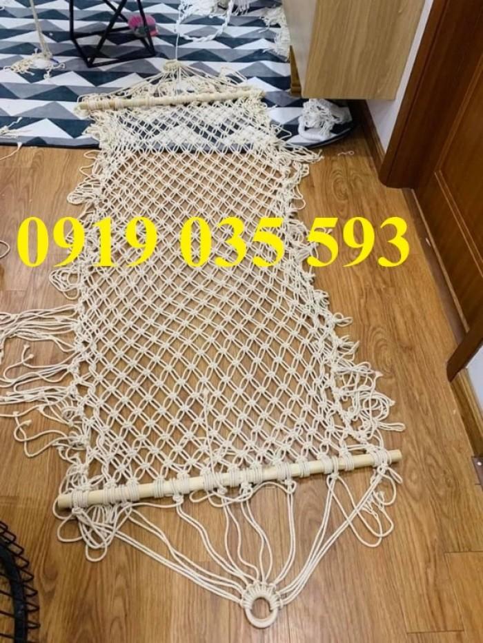 Bộ võng ngồi xích đu đan dây cotton ngà trắng3