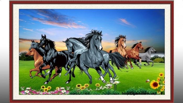Tranh 3d con ngựa phòng khách3