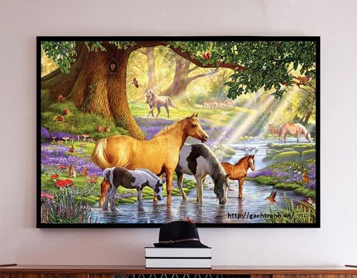 Tranh 3d con ngựa phòng khách11