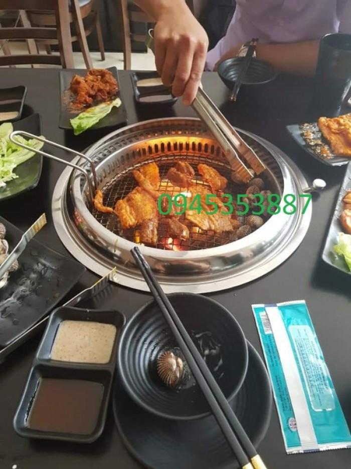 Bếp nướng than hoa không khói âm bàn Hàn Quốc hút âm dùng cho quán nướng lẩu0