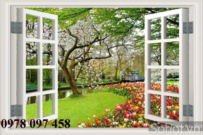 Tranh gạch 3D - tranh cửa sổ vườn hoa1