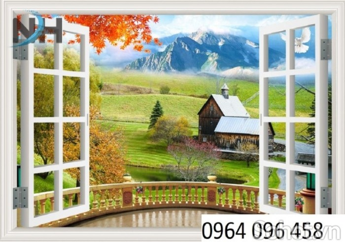 Tranh gạch 3D - tranh cửa sổ vườn hoa4
