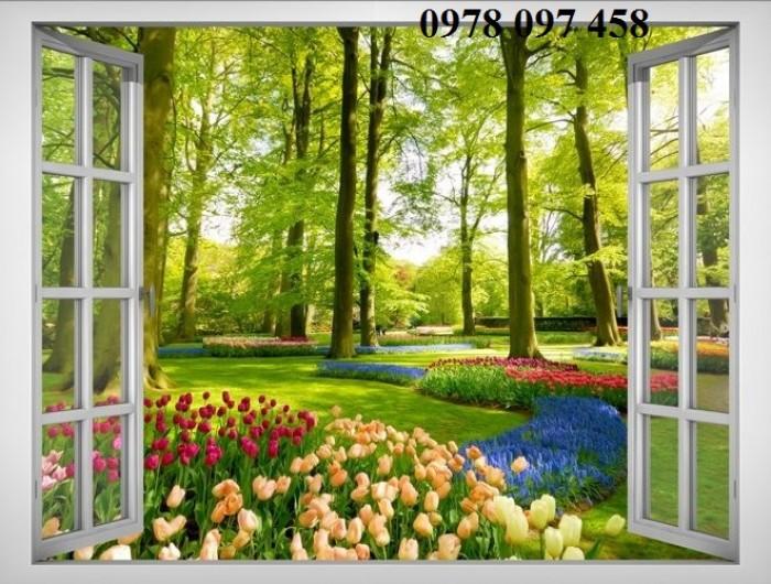 Tranh gạch 3D - tranh cửa sổ vườn hoa3