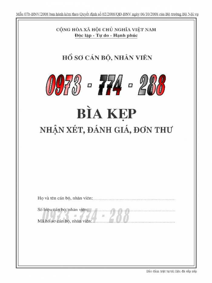 Bán bìa kẹp bảng kê thành phần tài liệu trong hồ sơ