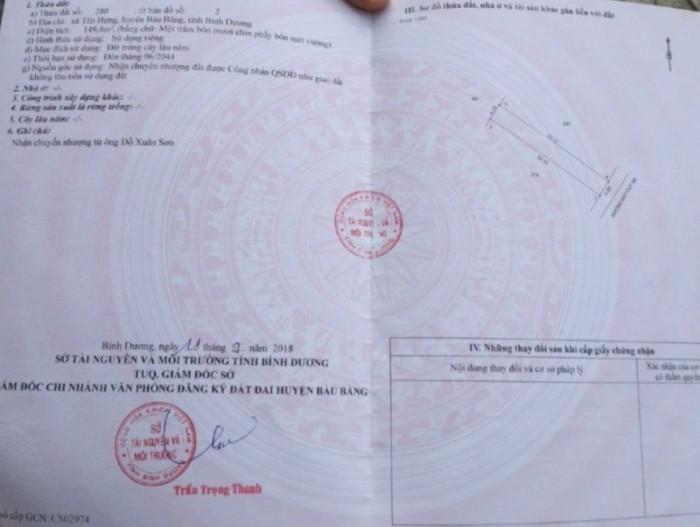 Bán đất Tân Hưng, Bàu Bàng, DT:150m2, SHR, giá 550 triệu. Liên hệ: 0937.220.82