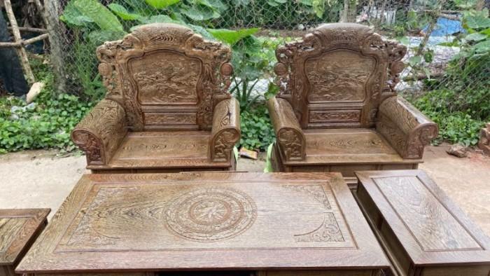Bộ bàn ghế khổng tử gỗ mun đuôi công16