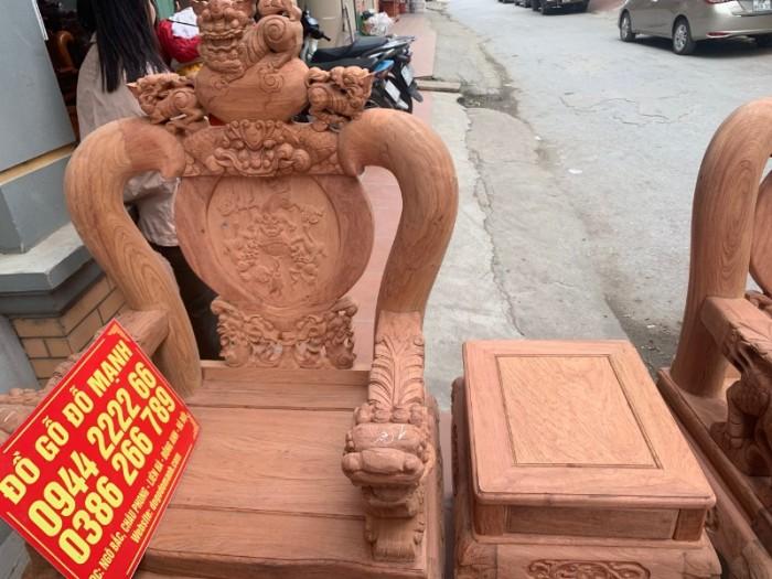 Bộ bàn ghế giả cổ nghê đỉnh gỗ hương đá20