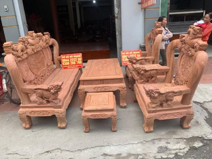 Bộ bàn ghế giả cổ nghê đỉnh gỗ hương đá22