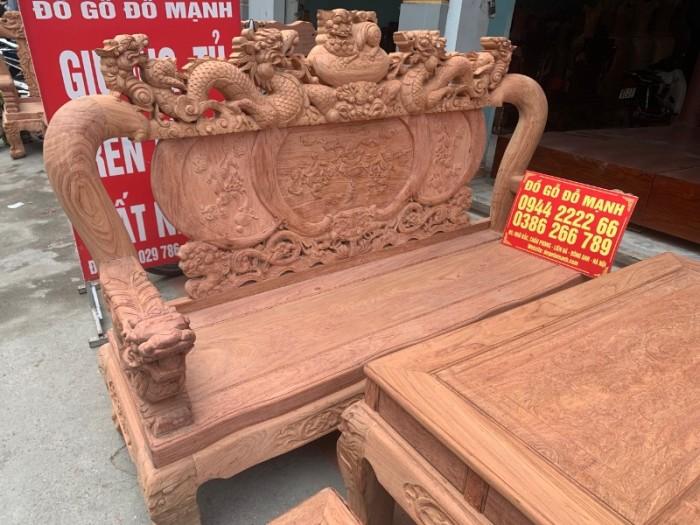 Bộ bàn ghế giả cổ nghê đỉnh gỗ hương đá25