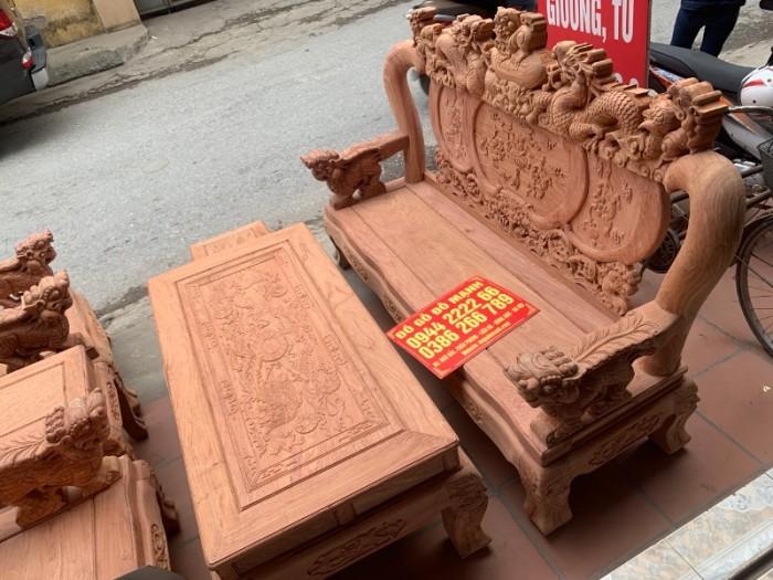 Bộ bàn ghế giả cổ nghê đỉnh gỗ hương đá27