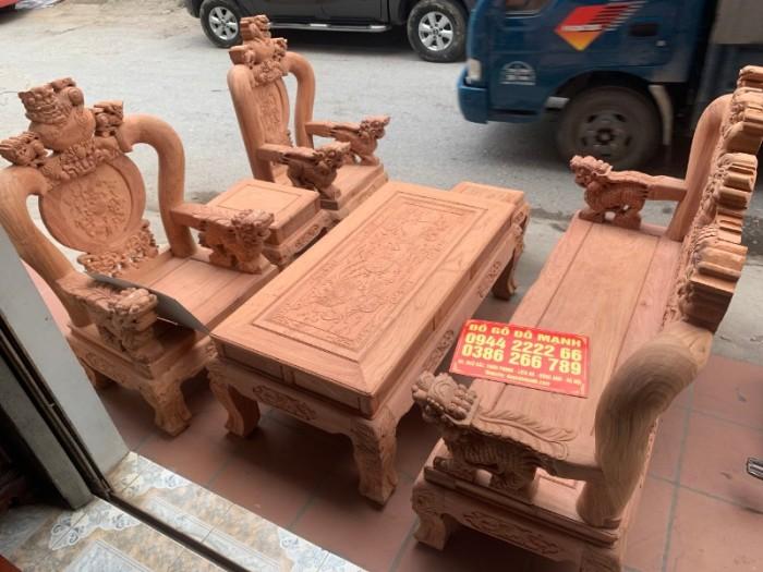 Bộ bàn ghế giả cổ nghê đỉnh gỗ hương đá24