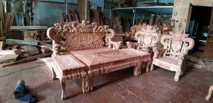 Bộ bàn ghế giả cổ nghê khuỳnh gỗ hương đá18