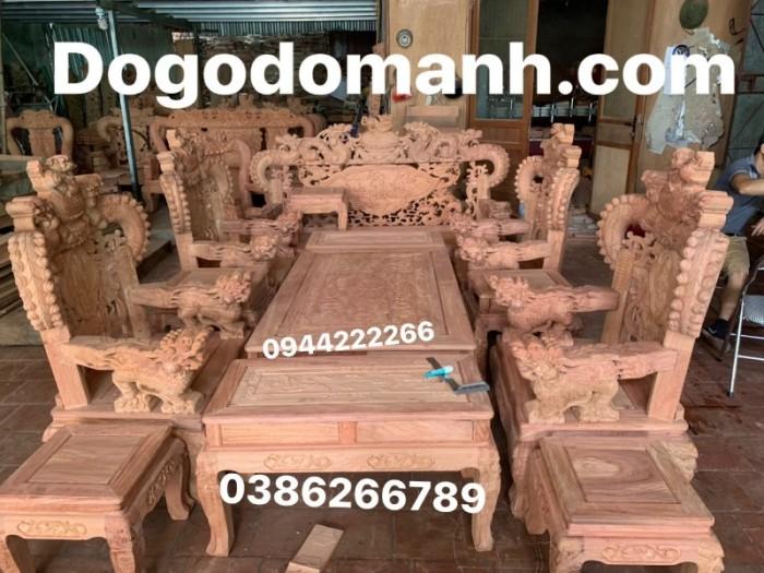 Bộ bàn ghế giả cổ nghê khuỳnh gỗ hương đá24