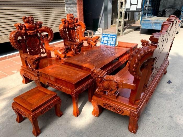 Bộ bàn ghế giả cổ nghê khuỳnh gỗ hương đá25