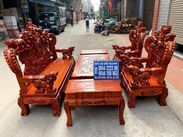 Bộ bàn ghế giả cổ nghê khuỳnh gỗ hương đá20