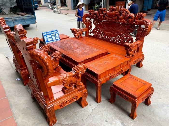 Bộ bàn ghế giả cổ nghê khuỳnh gỗ hương đá27
