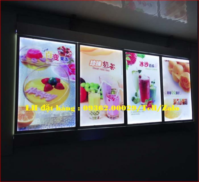 Biển menu thực đơn quán trà sữa gắn đèn led siêu mỏng giá rẻ4