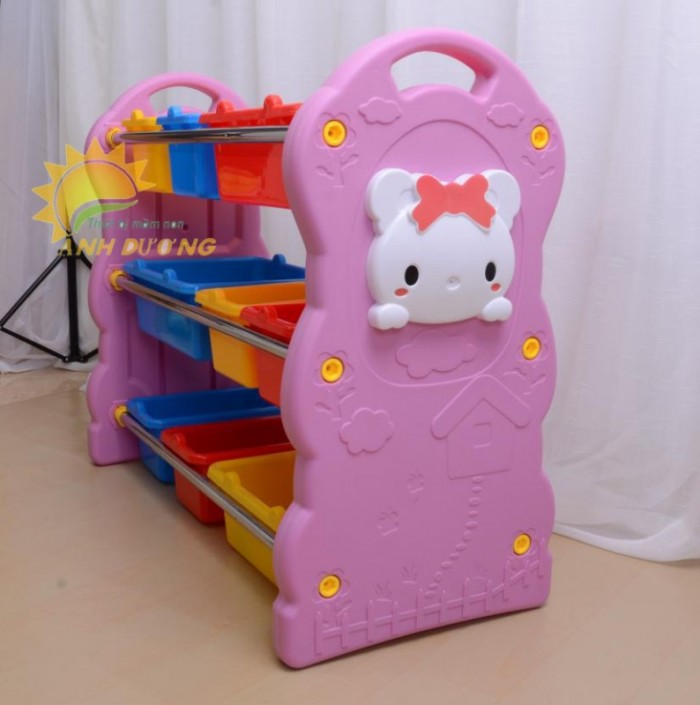 Kệ nhựa mầm non đựng học liệu, đồ chơi dành cho trẻ em mầm non