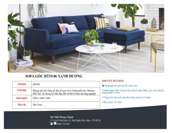Sofa góc bọc nhung xanh dương giá rẻ0