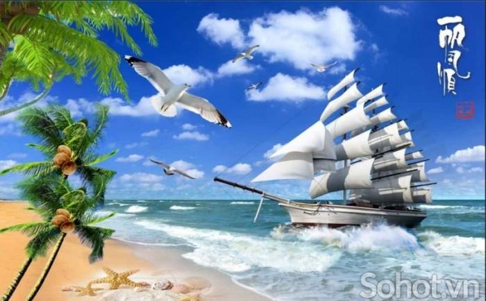 Tranh thuận buồm xuôi gió- tranh gạch men0