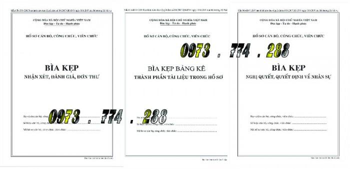 Bìa kẹp hồ sơ, cán bộ, công chức, viên chức, các loại mẫu ......0