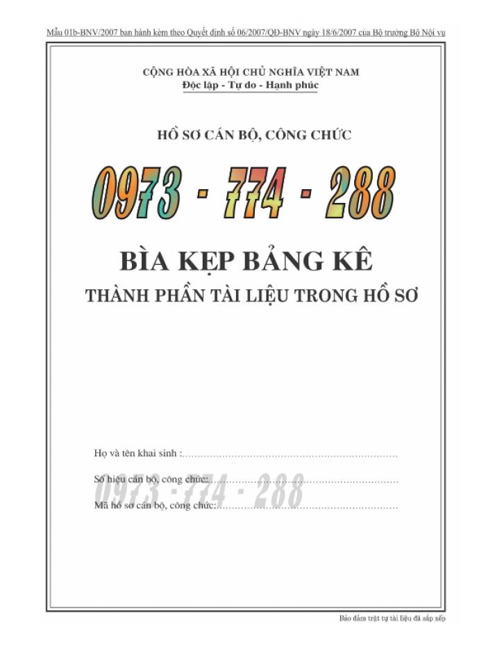 Bìa kẹp hồ sơ, cán bộ, công chức, viên chức, các loại mẫu ......4