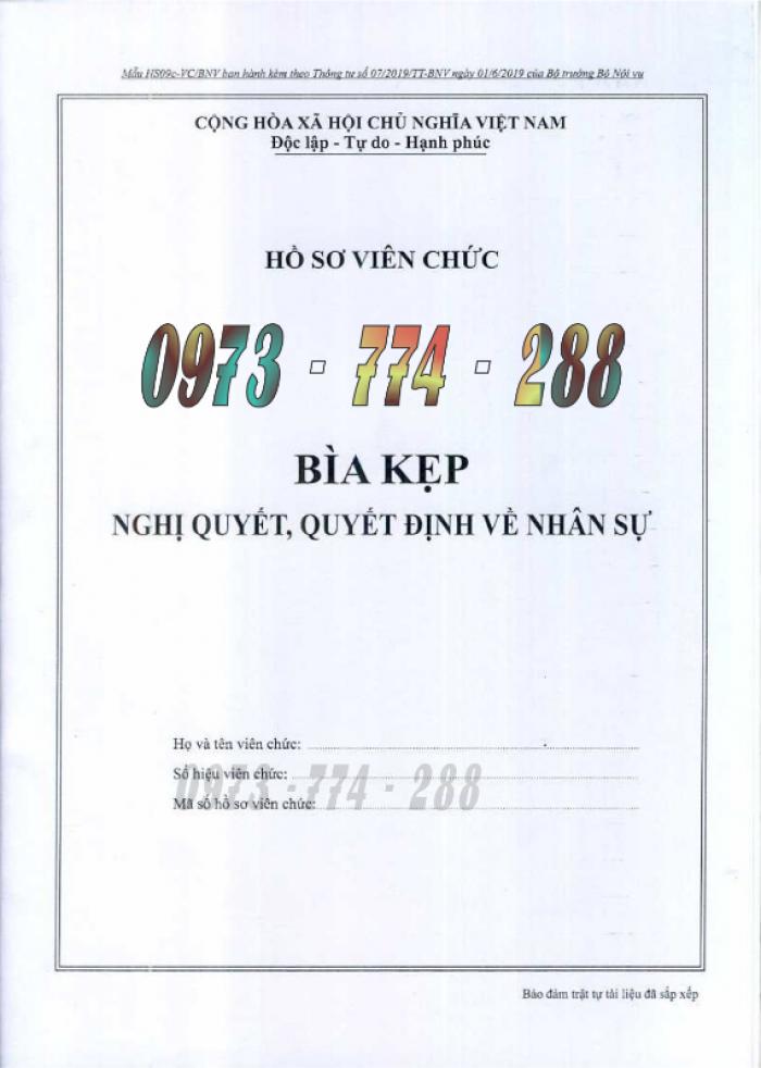 Bìa kẹp hồ sơ, cán bộ, công chức, viên chức, các loại mẫu ......8