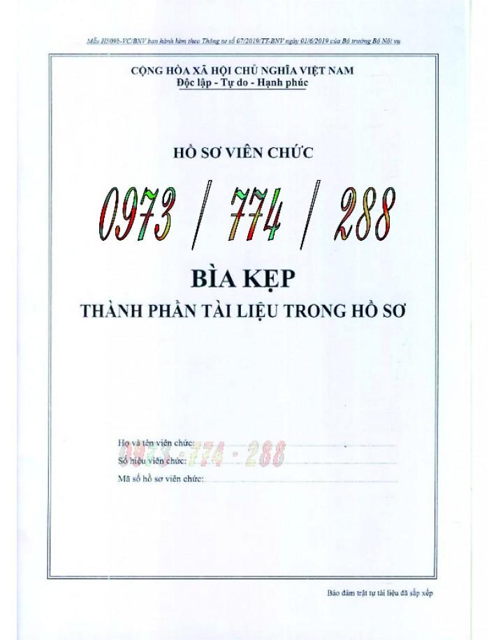 Bìa kẹp bảng kê thành phần, tài liệu trong hồ sơ - của bộ nội vụ0