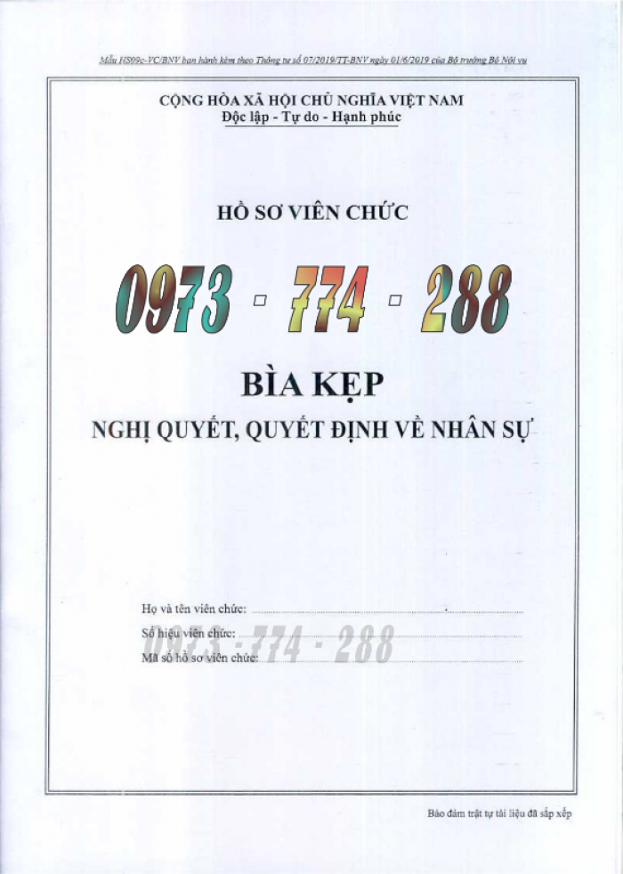 Bìa kẹp bảng kê thành phần, tài liệu trong hồ sơ - của bộ nội vụ1