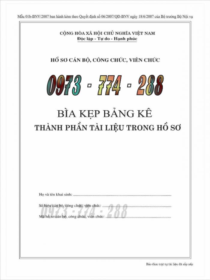 Bìa kẹp bảng kê thành phần, tài liệu trong hồ sơ - của bộ nội vụ3