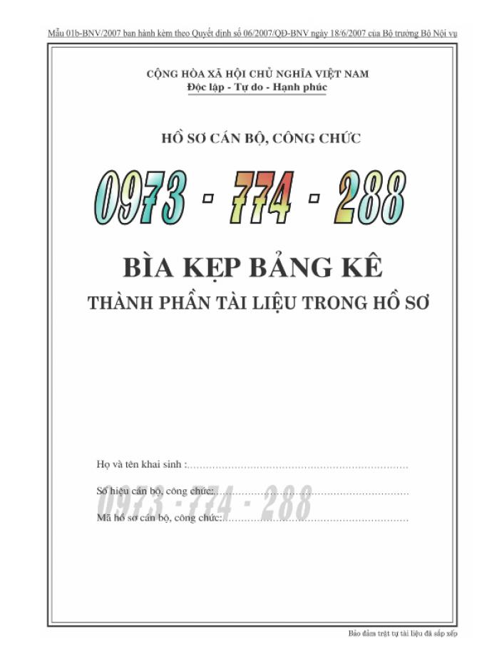 Bìa kẹp bảng kê thành phần, tài liệu trong hồ sơ - của bộ nội vụ6