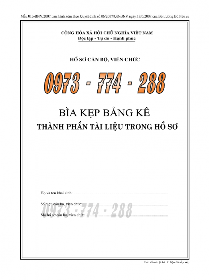 Bìa kẹp bảng kê thành phần, tài liệu trong hồ sơ - của bộ nội vụ12