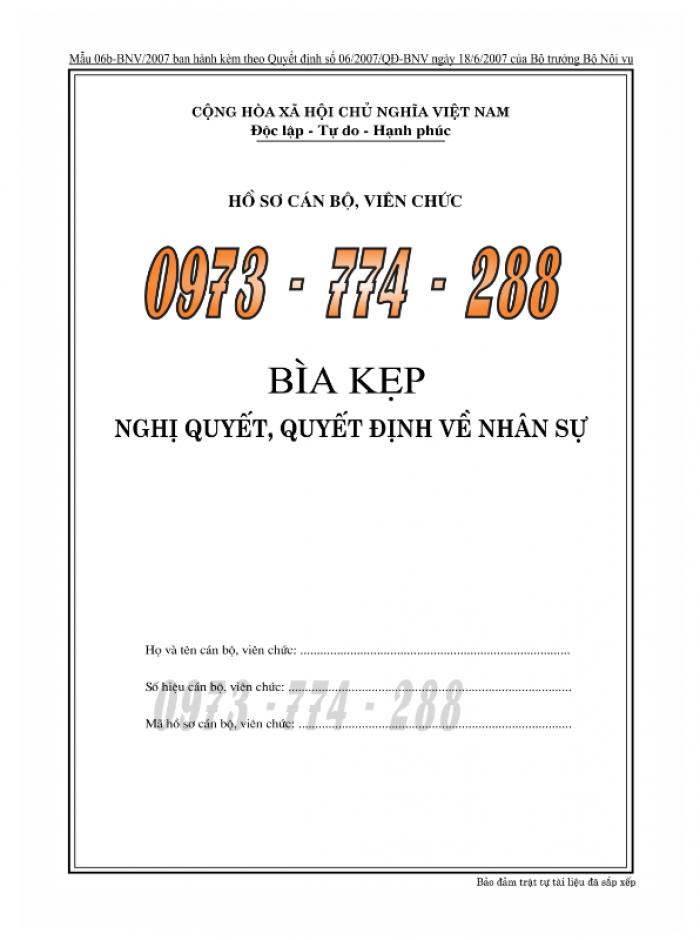 Bìa kẹp bảng kê thành phần, tài liệu trong hồ sơ - của bộ nội vụ13