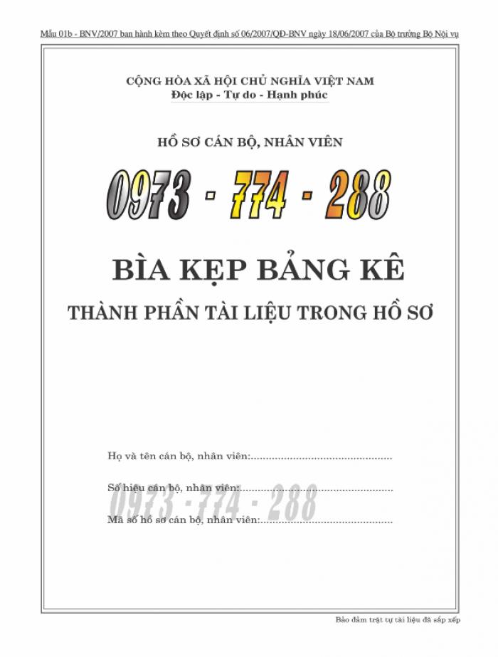 Bìa hồ sơ cán bộ, công chức, viên chức10