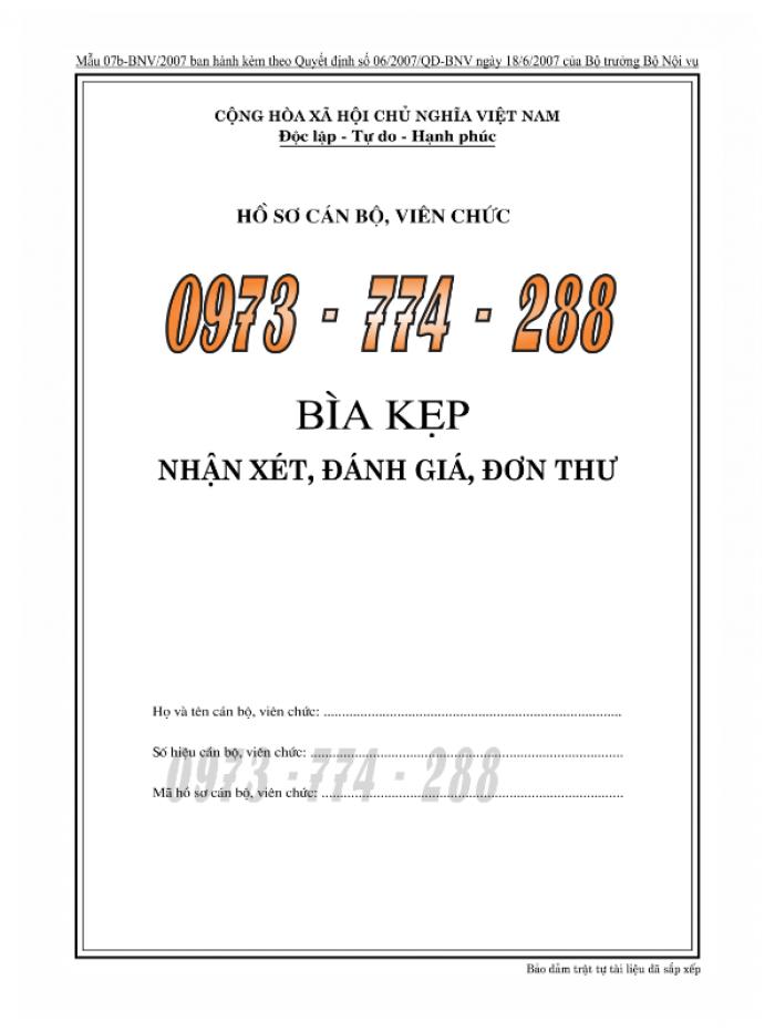 Bìa hồ sơ cán bộ, công chức, viên chức15