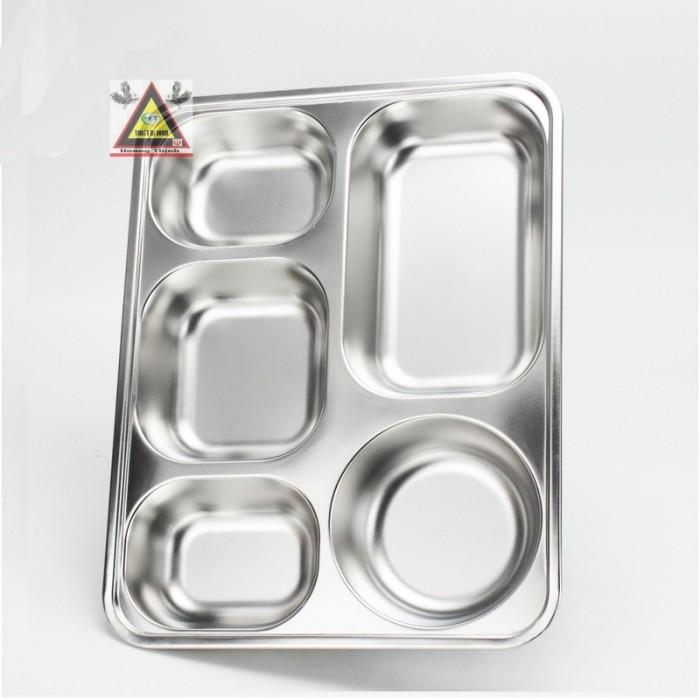Khay cơm 5 ngăn inox 100%1
