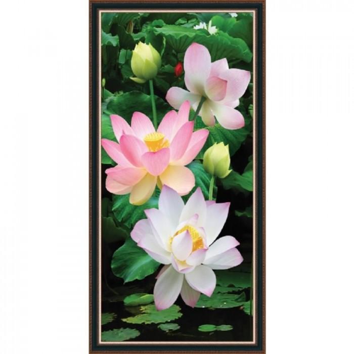 Tranh hoa sen 3d - gạch tranh 3d4